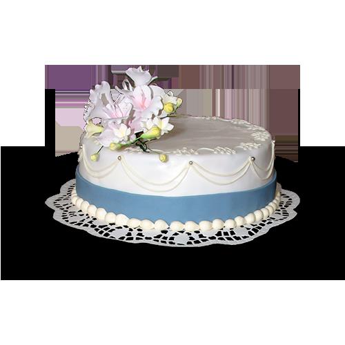 Torten: Hochzeitstorte, rund, vierstöckig, blau-weiß