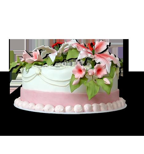 Torten: Hocheitstorte, rund, vierstöckig, rosa-weiß